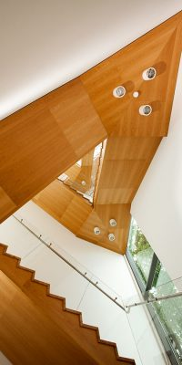 Wooden panels cladded on stairwell