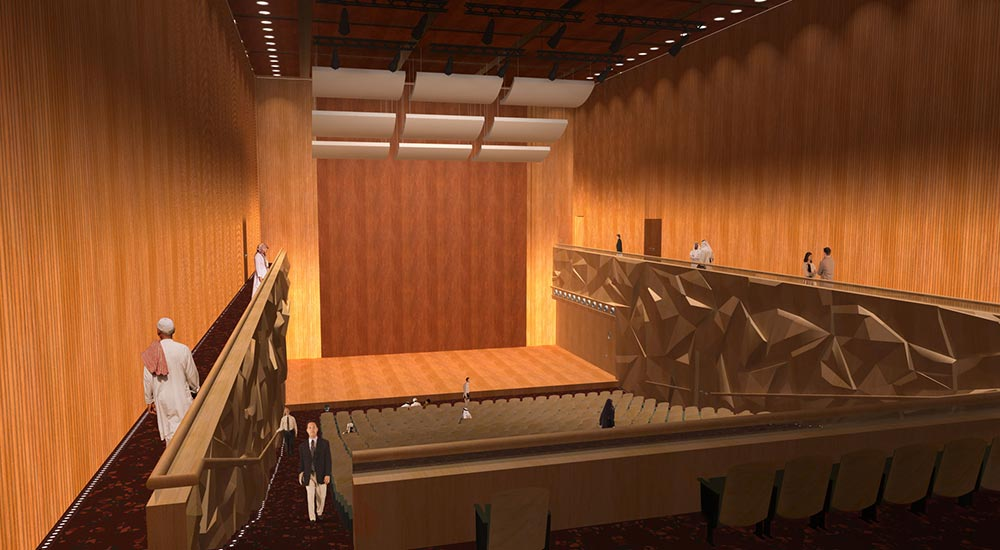 Auditorium in Qatar National Convention Center with 3d-walls