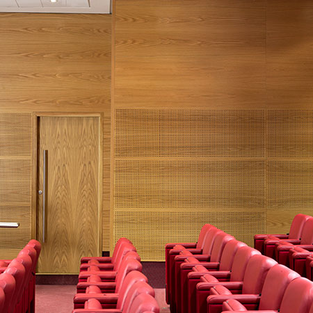 acoustic wood panels with different perforation patterns