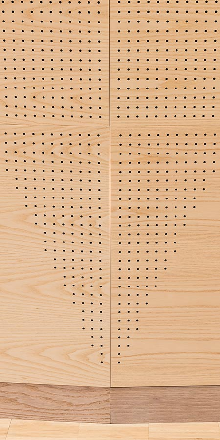 Acoustic wood panels for interior claddings