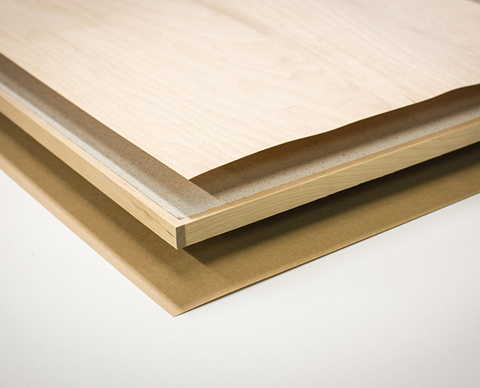 Gustafs wood veneer panels are based on a fiber gypsum core with solid wood edging
