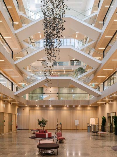 Atrium cladded with wood acoustic panels
