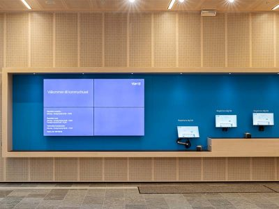 reception desk and acoustic panels