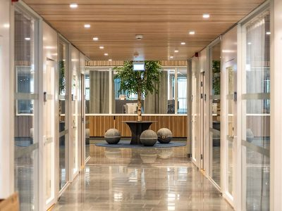 Wooden ceiling panels at refurbished office