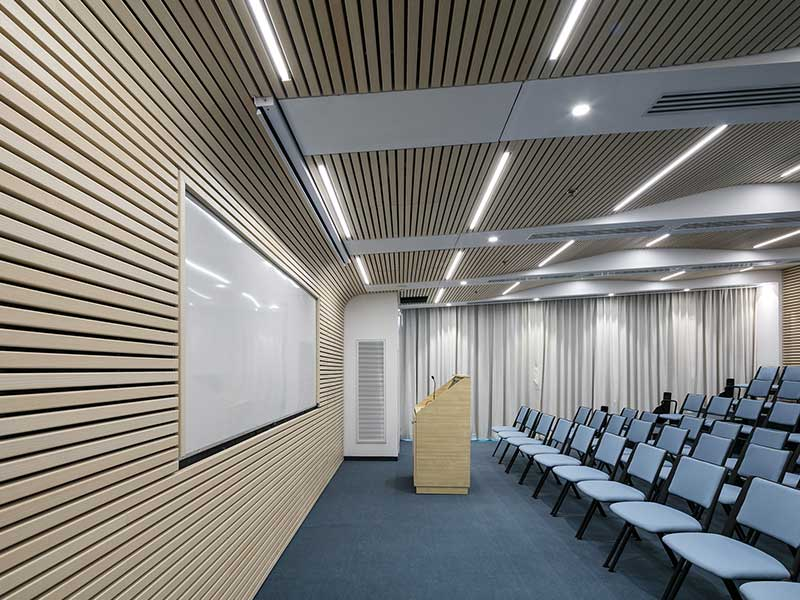 Ash timber panels in auditorium