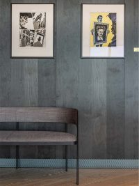 Art mounted on the wooden walls at Clarion Hotel Björvika
