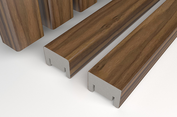 3d model of linear ribs in walnut veneer