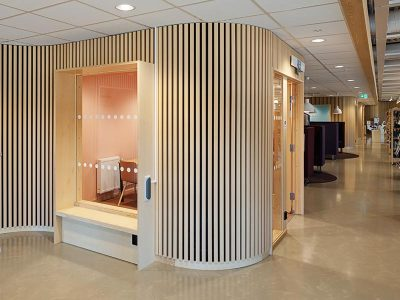 Curved wall installation at public library