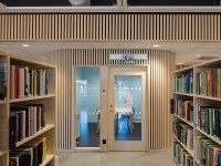 Timber cladding panels at libraryr interior
