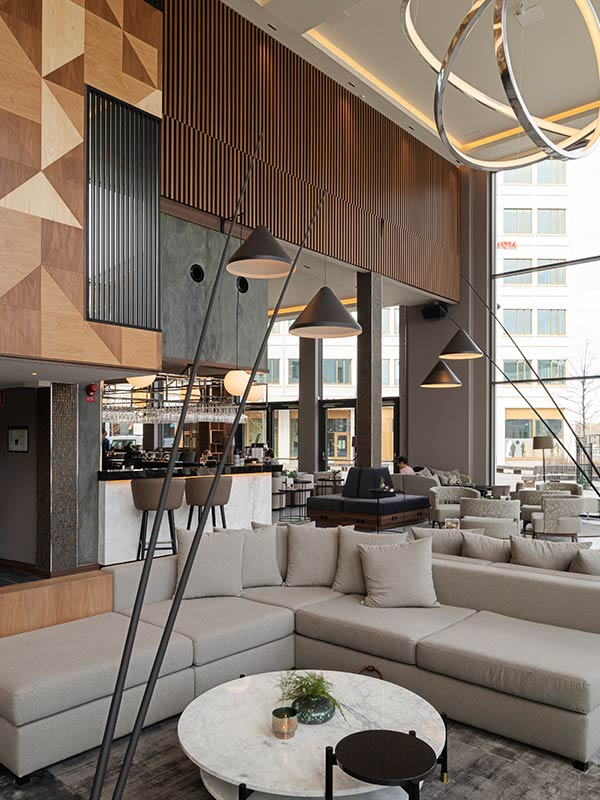 Gustafs Timber Panels are cladding the lobby at AC By Marriott in Stockholm