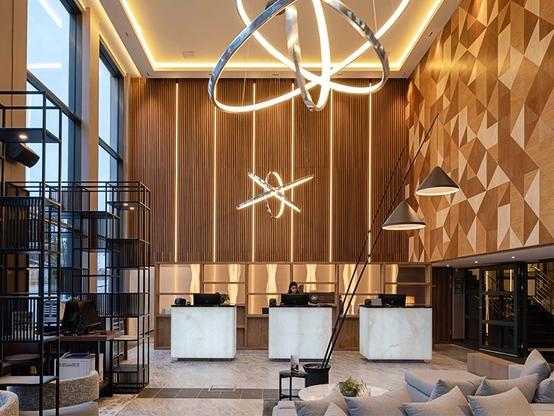 Creative lobby design at AC By Marriott in Stockholm