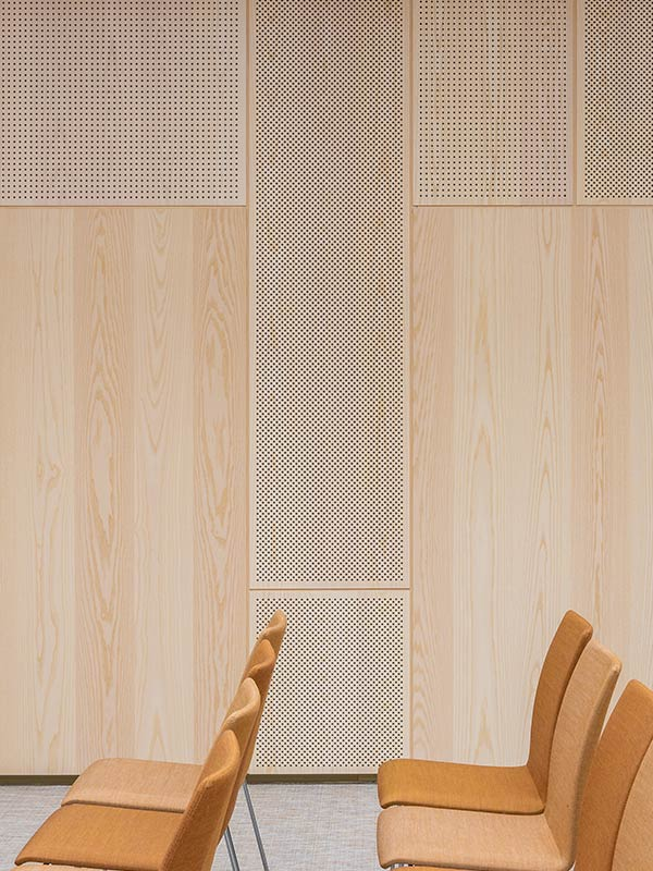 Three different perforations on acoustic wood panels
