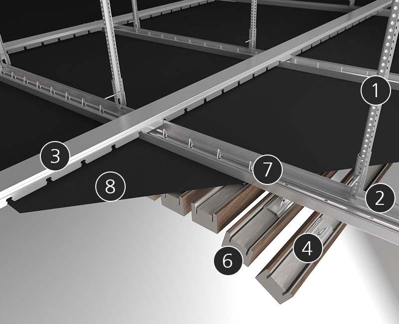 Details linear rib ceiling suspension