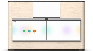 Gustafs wood panels integrated with Cisco's webex room panorama