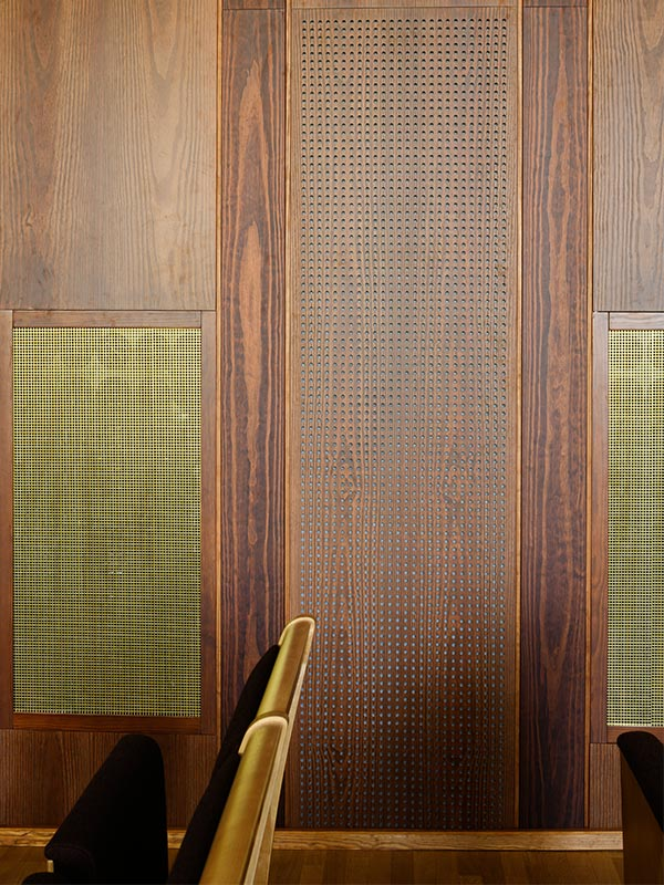 Perforated acoustic wood panels with Gustafs PH10 perforation