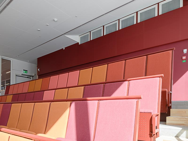 Acoustic panels in red laminate