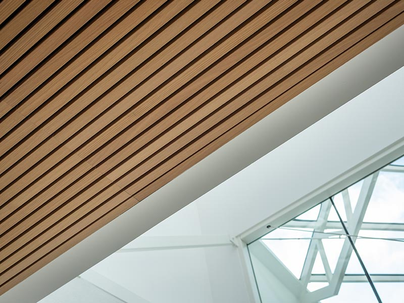 Close up of slatted timber ceiling installation