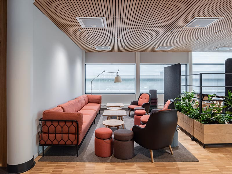Office space with slatted timber ceiling