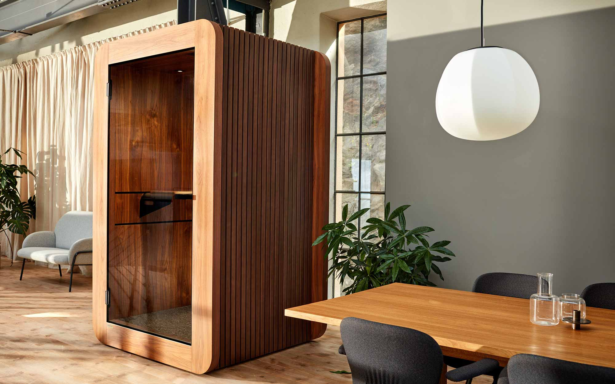 Wooden designed office meeting pod