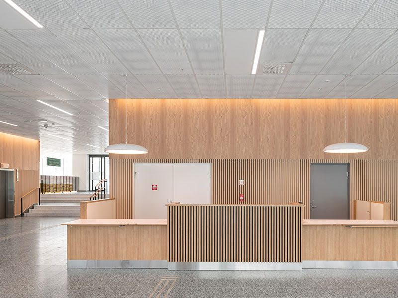 Wall combining wood panels and slatted timber panels