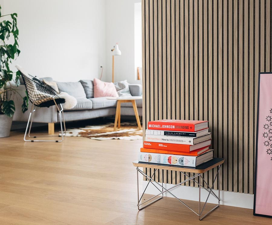 Acoustic wood cladding panels for living rooms