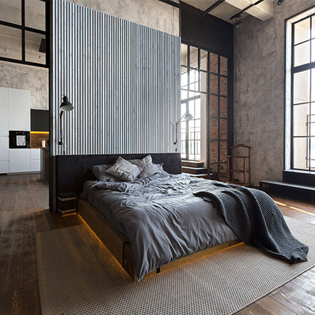 Bedroom back wall with slatted wooden panels