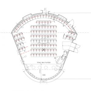 Drawing of the auditorium at the Swedish Trade Union Confederation