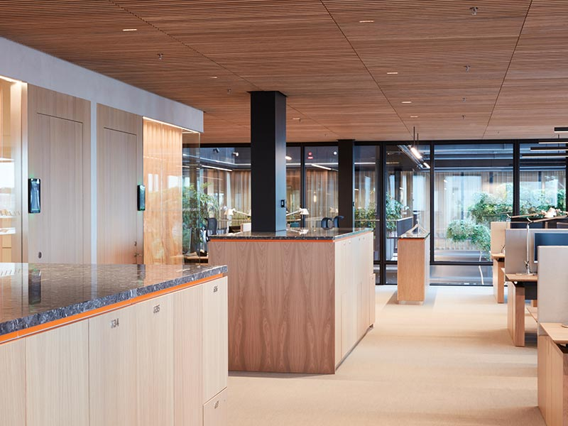 Suspended ceiling panels at high-end office