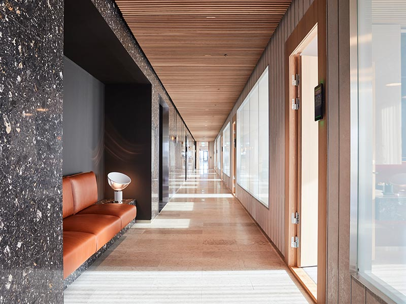 Office interior with suspended ceiling of timber slats
