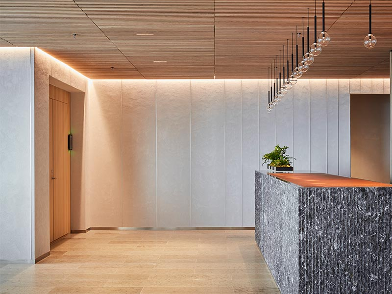 High-end office interior with suspended timber ceiling