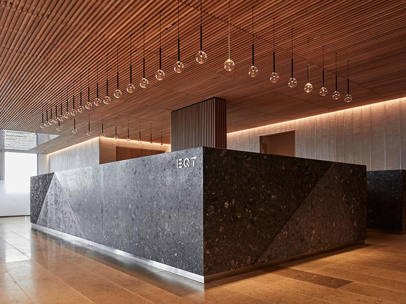 Reception desk at high-end office