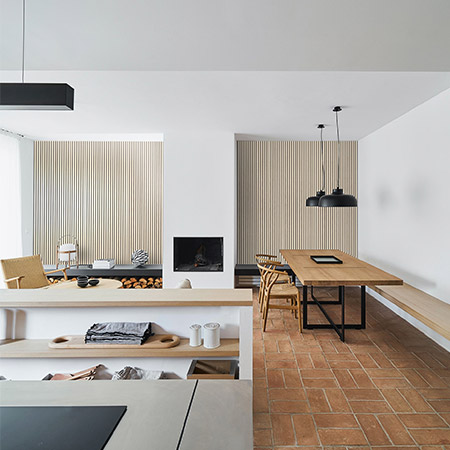 Nordic styled kitchen with slatted wooden panels