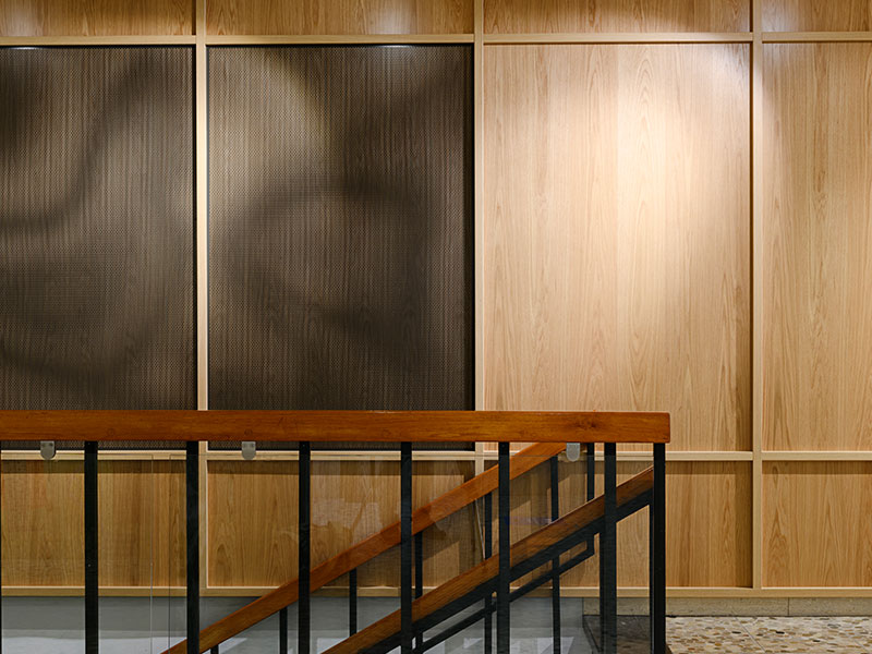 Office entrance interior cladded with Gustafs oak veneered wall panels
