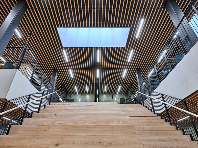 Climate change center in Denmark with wood-clad ceiling