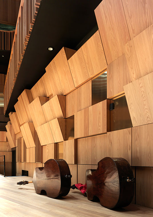 Wood cladding in Malmö Live Concert hall