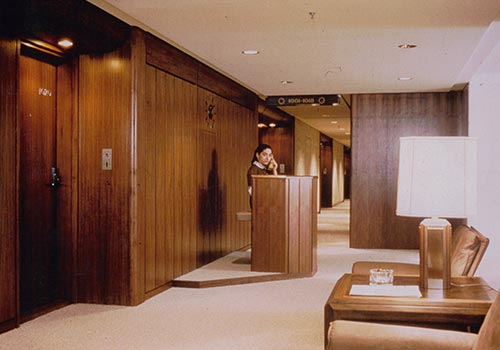 Walnut panels from Gustafs clads the interior in the Al Rasheed Hotel in Baghdad