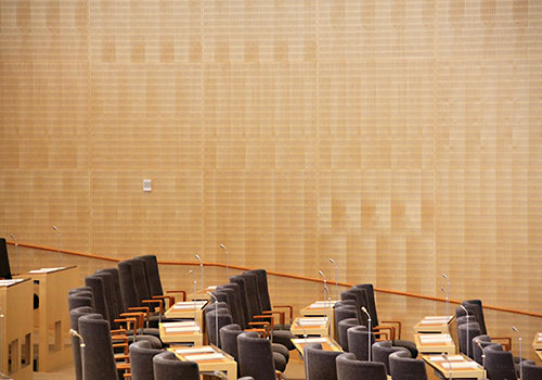 The Swedish parliament cladded with Gustafs' birch panels