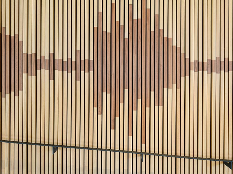 Sound waves created of wooden slats