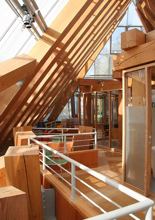 Timber structure in Hejmdal Cancer Patient House