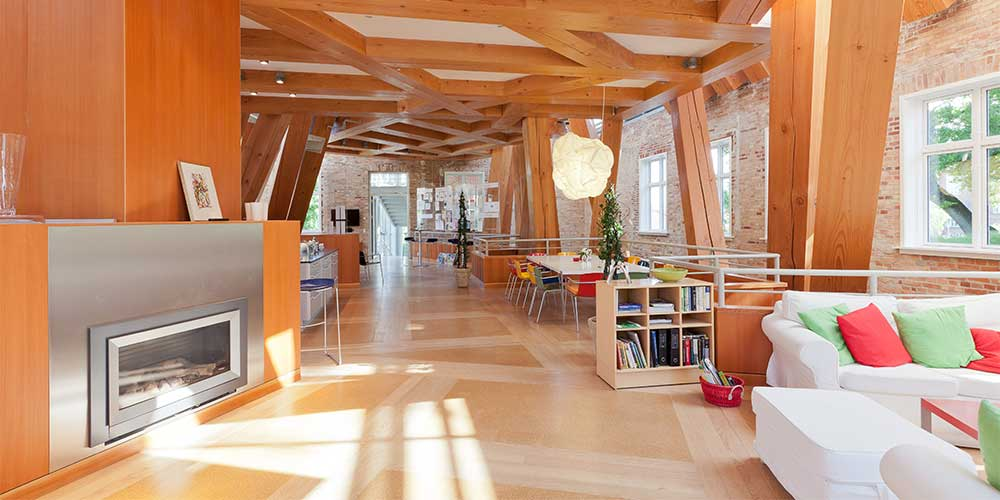 The wooden interior at Hejmdal cancer patient house