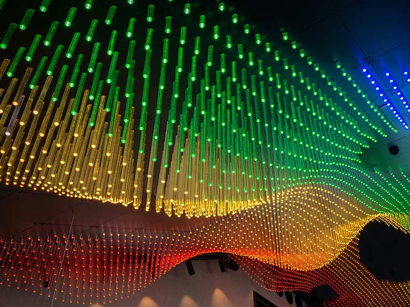 Led lighing rods in a hue of colours