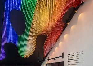Pride colored ceiling at Dronning Eufemias gate 8 in central Oslo
